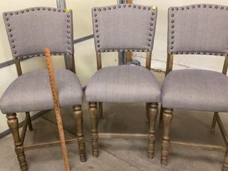 3 PRETTY UPHOlSTERED HIGH RISE CHAIRS 2 FT FROM
