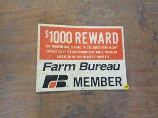 FARM BUREAU TIN SIGN