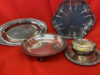 ASSORTMENT OF SIlVER PlATED TRAYS AND BOWlS