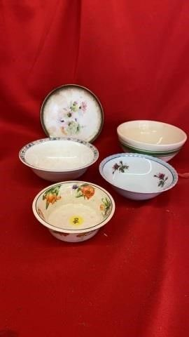 5 ANTIQUE BOWlS AND PlATE