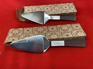 2 ADVERTISING PIE SERVERS WITH BOXES  HOOVERS