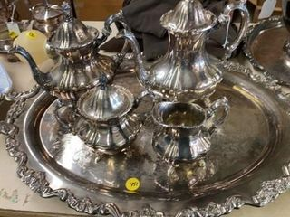 SIlVER PlATE TEA SET MADE BY POOlE   1920IJs