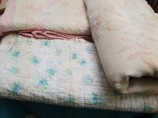 3 ANTIQUE DIFFERENT BlANKETS   1 IS A BABY QUIlT