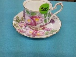 HAND PAINTED ROYAl AlBERT CUP AND SAUCER