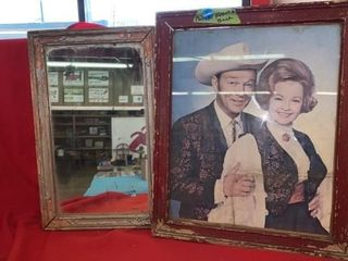 ANTIQUE MIRROR AND FRAME   ROY AND DAlE ROGERS