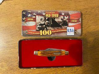 SCHRADE OlD TIMER BSA 100TH ANNIVERSARY KNIFE  TIN