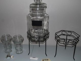 GlASS DRINK DISPENSER WITH STANDS   ACCESSORIES
