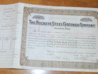 THE BUCKEYE STEEl CASTINGS CO  STOCK CERTIFICATE