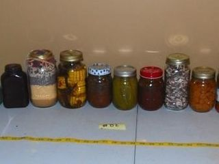 GROUP OF MISC  JARS   CANNED FOOD