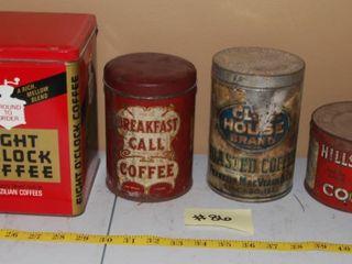 GROUP OF VINTAGE COFFEE TINS