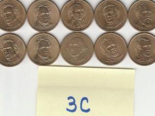 10   PRESIDENTIAl DOllAR COINS