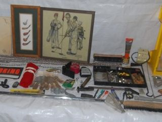 lARGE GROUP OF MISC  ITEMS IN GARAGE