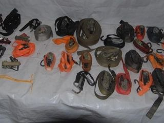 lARGE GROUP OF MISC  RATCHET STRAPS  BUNGEE CORDS