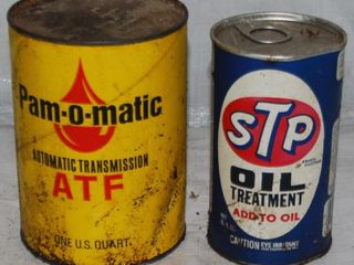 VINTAGE ATF   STP OIl TREATMENT CANS
