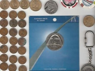 GROUP OF MISC  CURRENCY   COINS   TOKENS