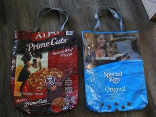 HANDBAGS MADE FROM RECYClED PET FOOD BAGS