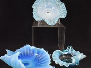 3  Blue opalescent glass pieces