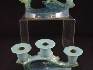 Pr  Roseville Wincraft No  253 triple candleholders  blue