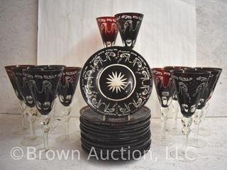 12  Victorian Bohemian Glass 9 5 h goblets and  12  matching 6  plates