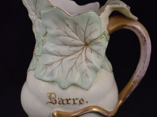 Mrkd  Hampshire Pottery 8  leaf gourd pitcher