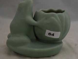 Art Pottery green figural frog planter
