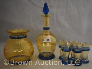 Czechslovakia 6 pc  decanter set w matching vase