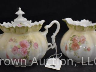 R S  Prussia Mold 505 creamer and sugar set  red mark