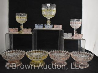 14  EAPG Fine Cut and Block pieces incl  goblets  berry bowls and salt dips