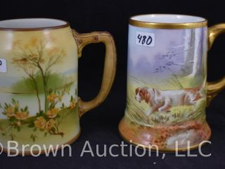 2  Hand painted porcelain 5 h mugs