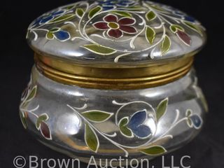 Clear glass 5 25  round dia  Dresser box w enamelled red and blue flowers