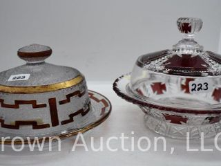 2  EAPG Ruby stained cov  butter dishes