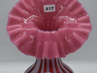 Fenton Cranberry opalescent Rib Optic Jack in the Pulpit vase