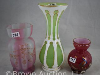 3  Art Glass vases  4  up to 8