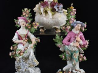 2  Meissen style man and woman figurines and  1  mrkd  Hobe Dresden perfume scent bottle