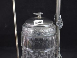 EAPG crystal etched pickle castor in Bristol Plate Co  holder w tongs