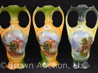 3  Mrkd  Germany 10  vases  castle and water scenes