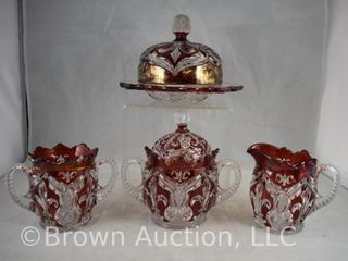 Ruby stained EAPG Fleur De lis 4 pc  Table set
