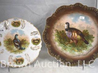 2  Hand painted porcelain game plates