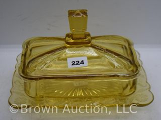 EAPG amber Flower and Quill cov  butter dish