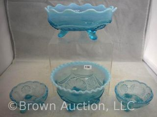 4  Blue opalescent dishes