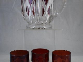 Ruby stained EAPG Triple Triangle water set