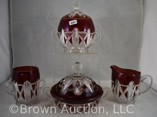 Ruby stained EAPG Triple Triangle 4 pc  Table set