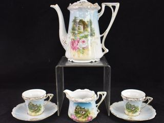 R S  Prussia Stippled Mold pieces incl  tea pot  creamer  2  cup and saucer sets