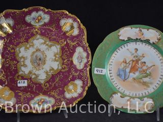 2  Hand painted porcelain plates