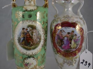2  Porcelain 6  vases with hand painted Mythological scenes