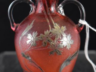 Art Nouveau Sterling Silver overlay floral Art Glass 3 5  cranberry vase