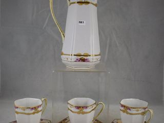 Mrkd  Nippon 7 pc  Chocolate set incl  pot   3  cups and saucer sets