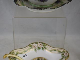 2  Nippon condiment dishes  both floral decorated