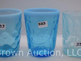 3  Blue opalescent tumblers