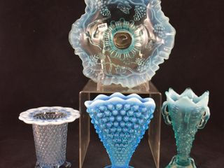 4  Blue opalescent glass pieces